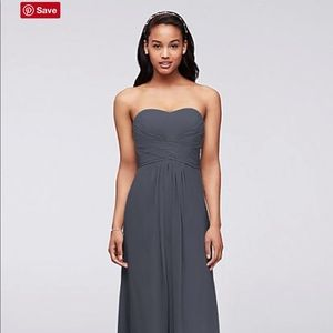 DAVID'S BRIDAL BRIDESMAIDS DRESS- PEWTER